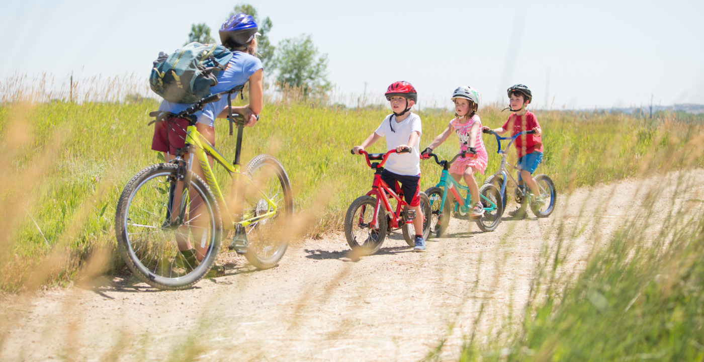 Kids biking at summer camp