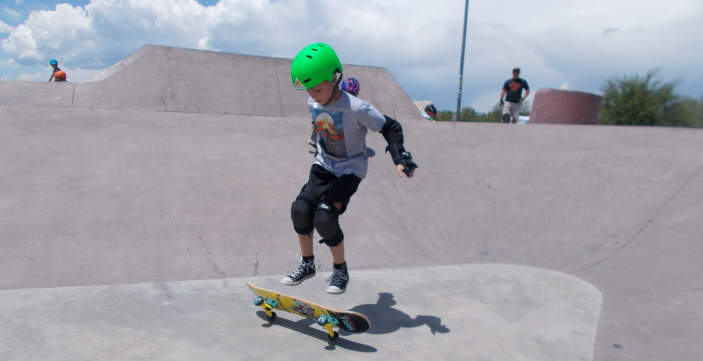 Kids skateboarding at summer camp